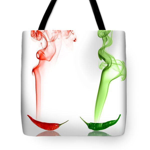 Red And Green Chili Smoke Photography Tote Bag