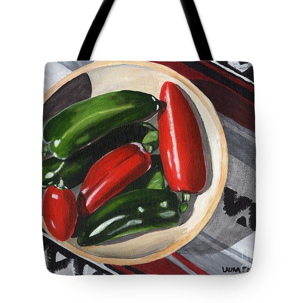 Tote Bag featuring the painting Red And Green Peppers by Laura Forde