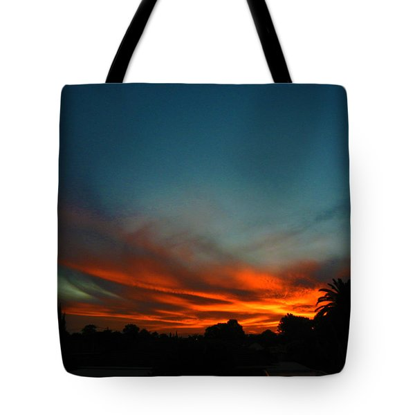 Red And Green Sunset Tote Bag