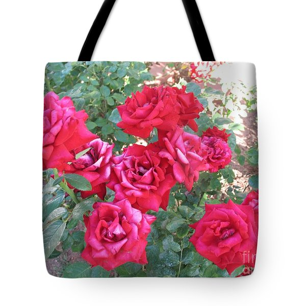 Tote Bag featuring the photograph Red And Pink Roses by Chrisann Ellis