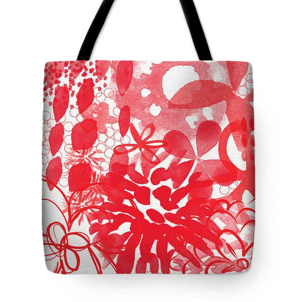 Red And White Bouquet- Abstract Floral Painting Tote Bag