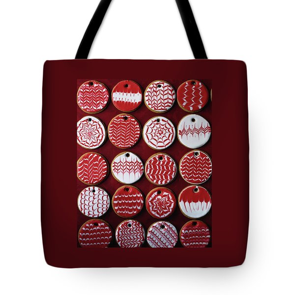 Red And White Christmas Cookies Tote Bag