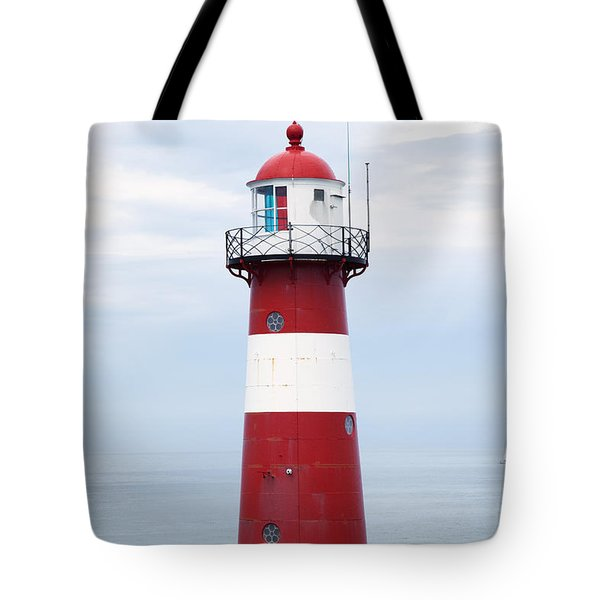 Red And White Lighthouse Tote Bag by Peter Zoeller