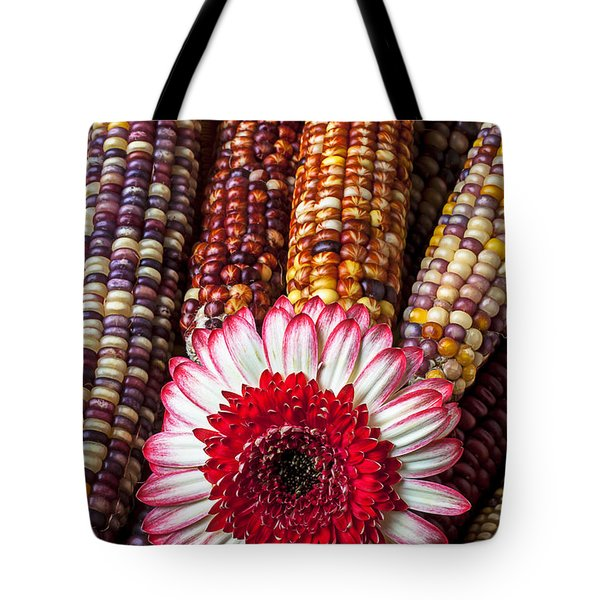 Red And White Mum With Indian Corn Tote Bag by Garry Gay