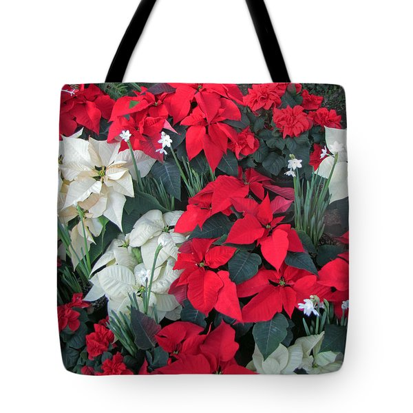 Red And White Poinsettias Tote Bag