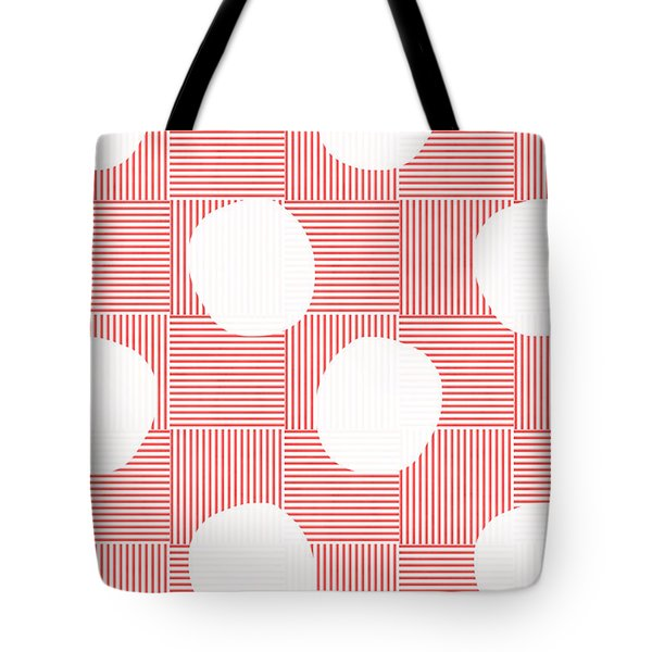 Red And White Poof  Tote Bag by Linda Woods