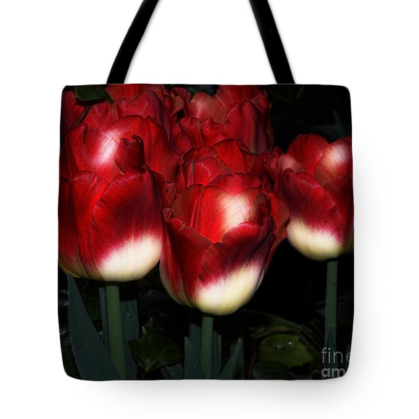 Red And White Tulips Tote Bag by Kathleen Struckle