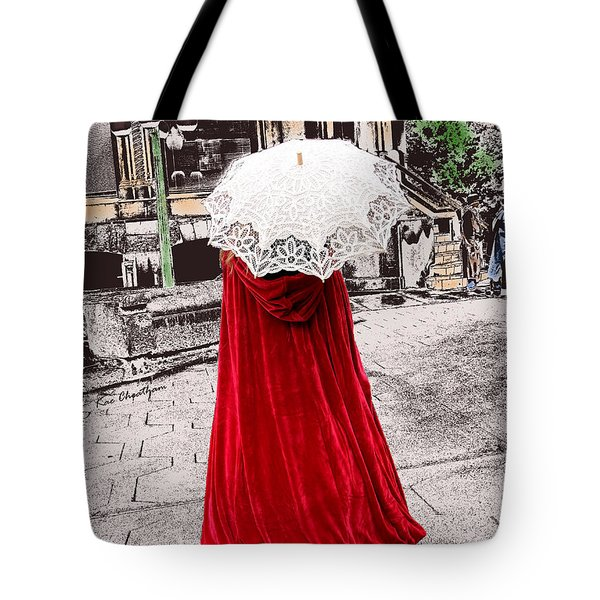Red And White Walking Tote Bag by Kae Cheatham