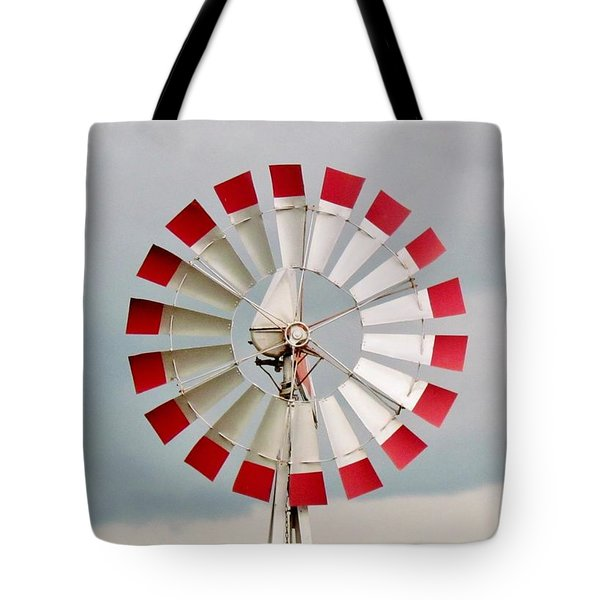 Tote Bag featuring the photograph Red And White Windmill by Cynthia Guinn