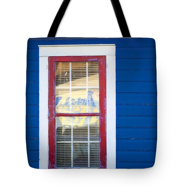 Red And White Window In Blue Wall Tote Bag