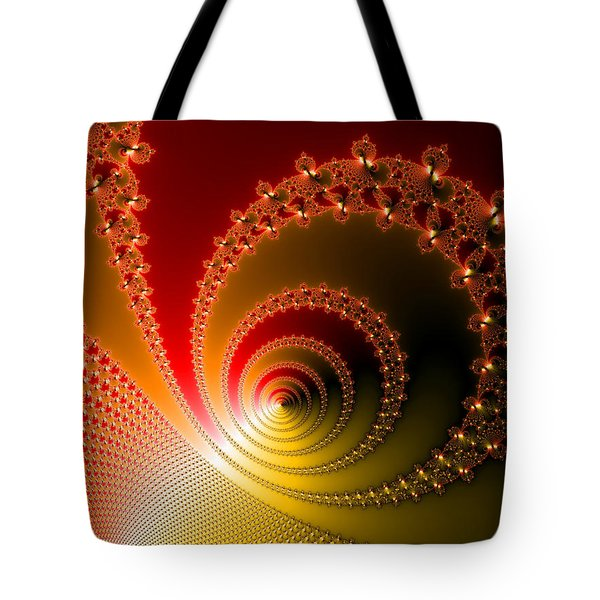 Red And Yellow Abstract Fractal Tote Bag by Matthias Hauser