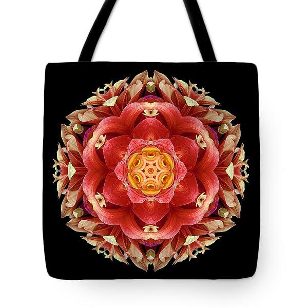 Red And Yellow Dahlia IIi Flower Mandala Tote Bag by David J Bookbinder