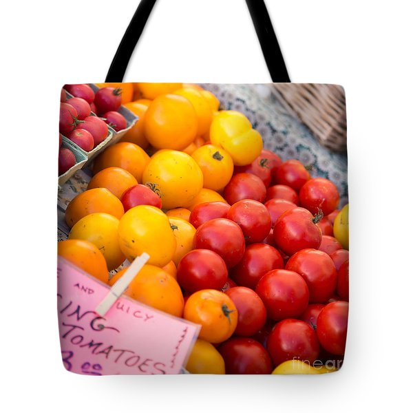 Red And Yellow Tomatoes Closeup Tote Bag