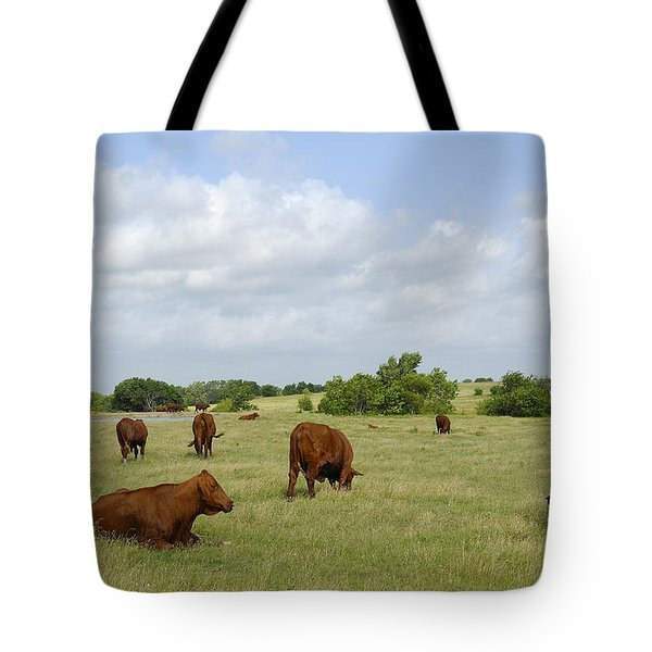 Tote Bag featuring the photograph Red Angus Cattle by Charles Beeler