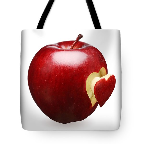 Red Apple With Heart Tote Bag