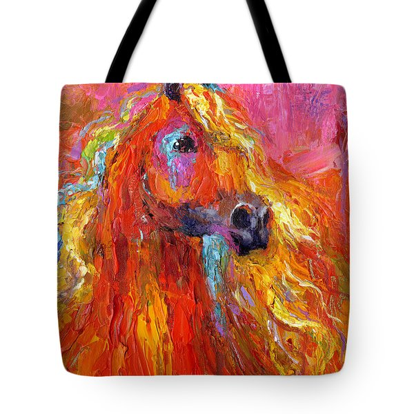 Red Arabian Horse Impressionistic Painting Tote Bag by Svetlana Novikova