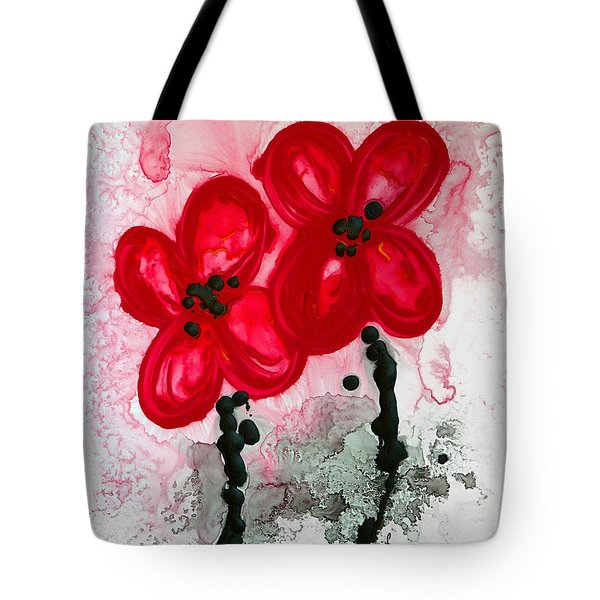 Red Asian Poppies Tote Bag