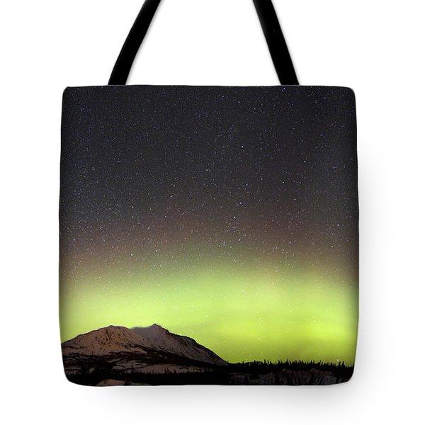 Red Aurora Borealis And Milky Way Tote Bag by Joseph Bradley