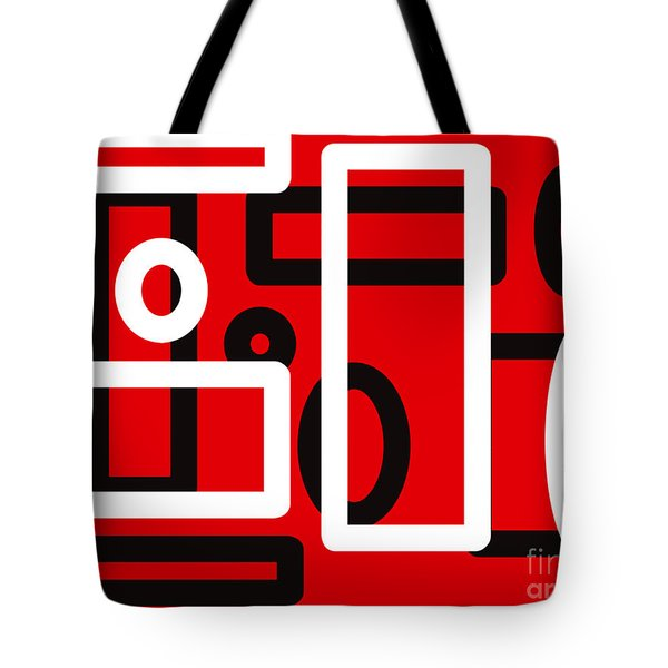 Red Back And White Design Tote Bag