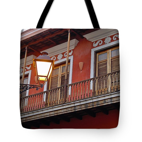 Red Balcony Tote Bag