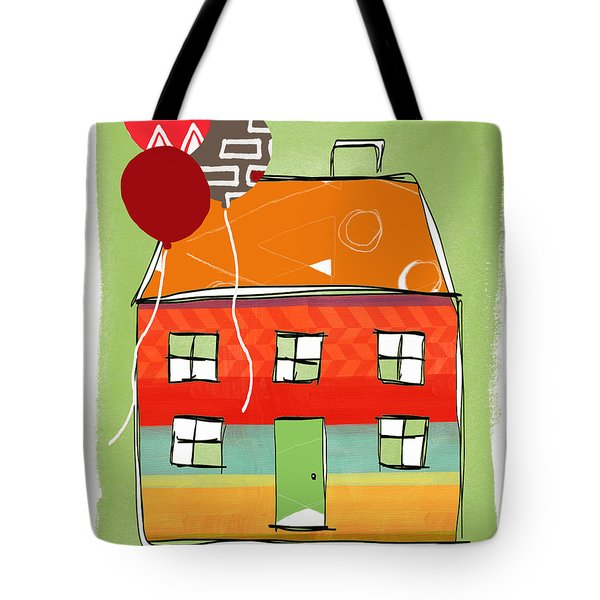 Red Balloon Tote Bag by Linda Woods