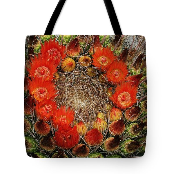 Tote Bag featuring the photograph Red Barell Cactus Flowers by Tom Janca