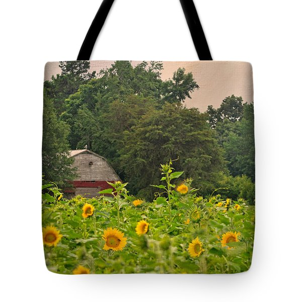 Red Barn Among The Sunflowers Tote Bag