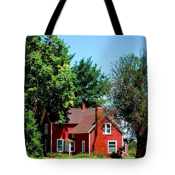 Tote Bag featuring the photograph Red Barn And Trees by Matt Harang