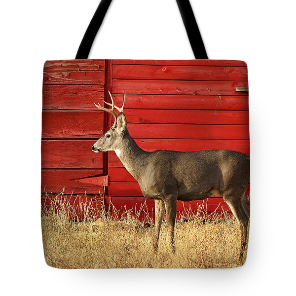 Red Barn Buck Tote Bag