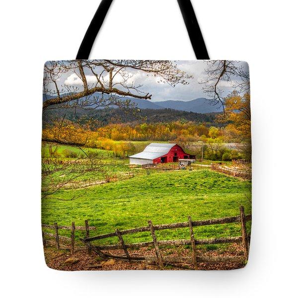 Red Barn Tote Bag by Debra and Dave Vanderlaan