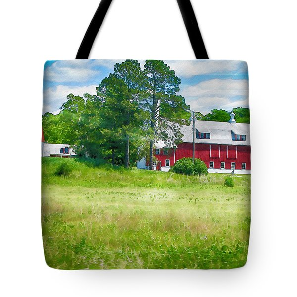 Red Barn Tote Bag by Erika Weber