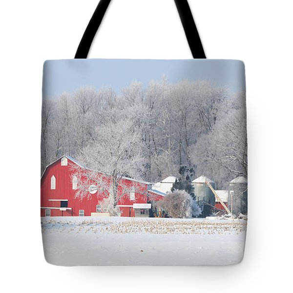 Red Barn Frosty Morning Panorama1 Tote Bag by Jack Schultz