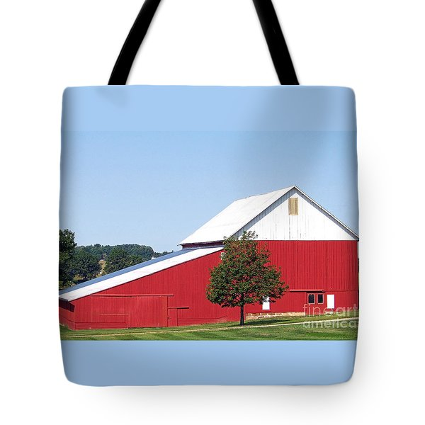 Tote Bag featuring the photograph Red Barn by Gena Weiser