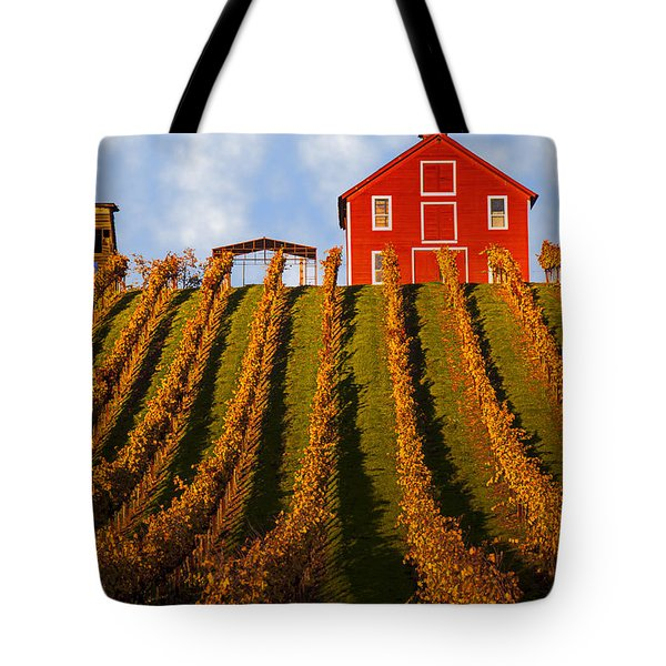 Red Barn In Autumn Vineyards Tote Bag