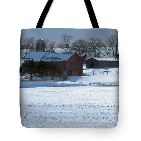 Red Barn In Snow Cover Tote Bag
