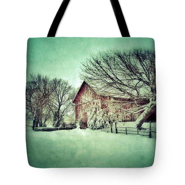 Red Barn In Winter Tote Bag by Jill Battaglia