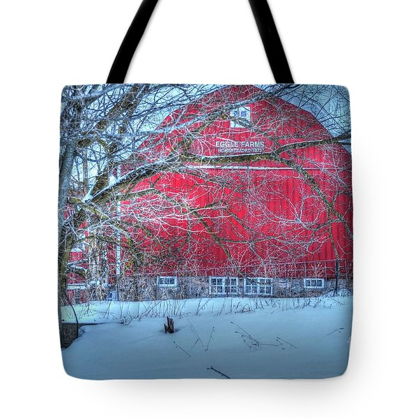 Red Barn In Winter Tote Bag by Terri Gostola