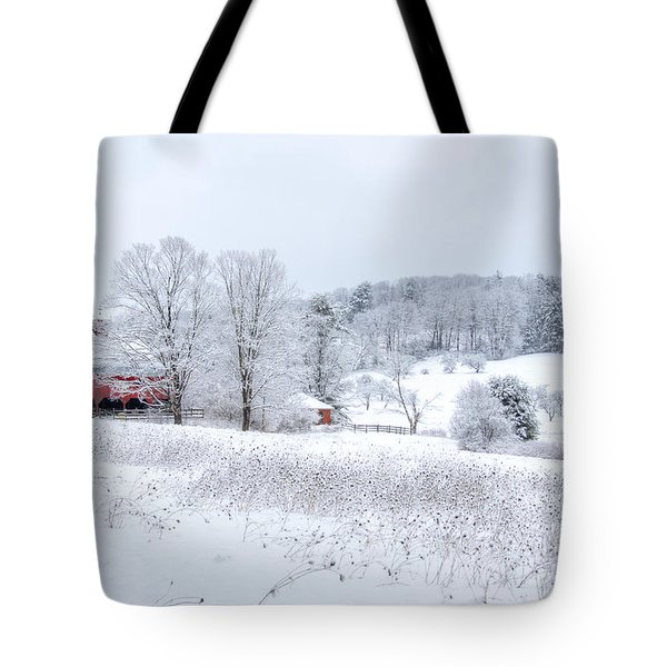 Red Barn In Winter Wonderland Tote Bag by Donna Doherty
