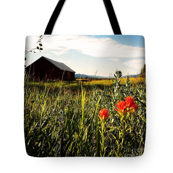 Tote Bag featuring the photograph Red Barn by Meghan at FireBonnet Art