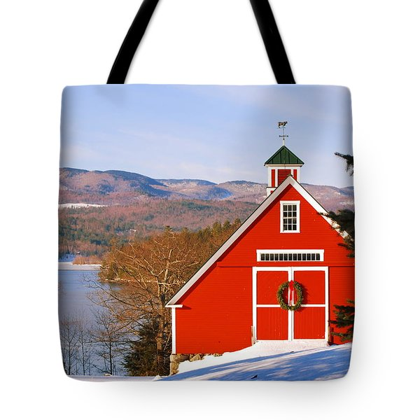 Red Barn On Newfound Lake Tote Bag