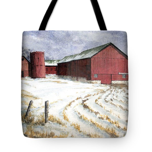Tote Bag featuring the painting Red Barn On Rt. 49 by Roger Rockefeller
