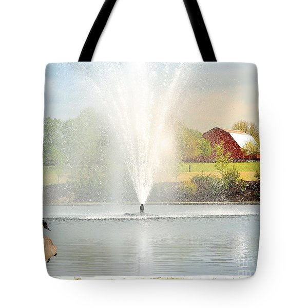 Red Barn Scene Tote Bag