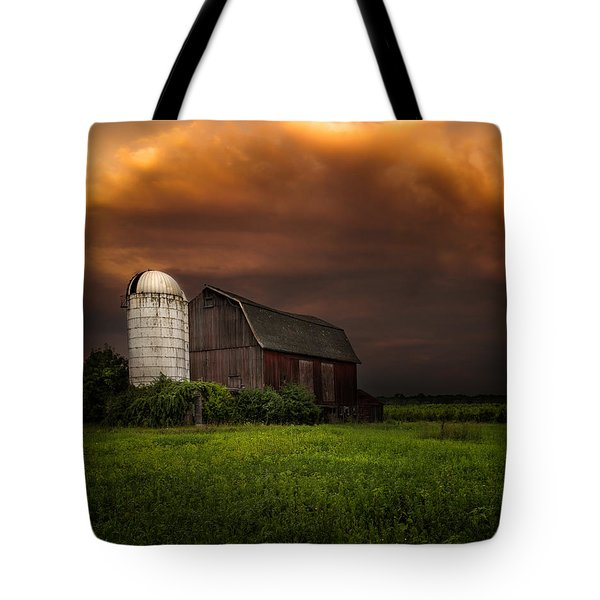 Red Barn Stormy Sky - Rustic Dreams Tote Bag by Gary Heller