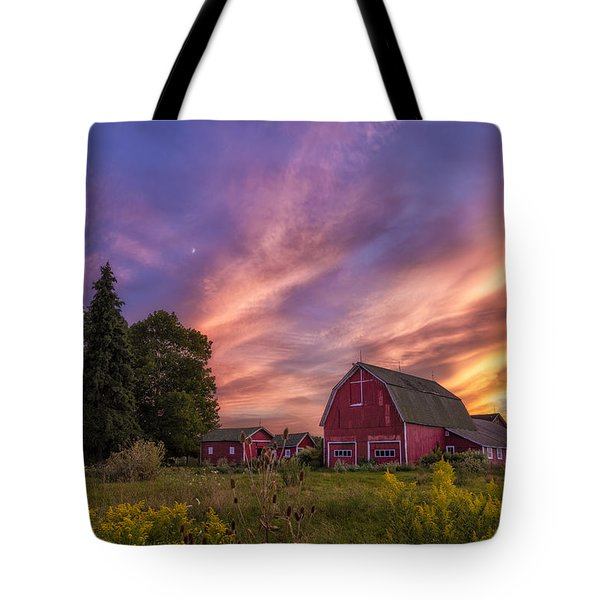 Red Barn Sunset 2 Tote Bag by Mark Papke