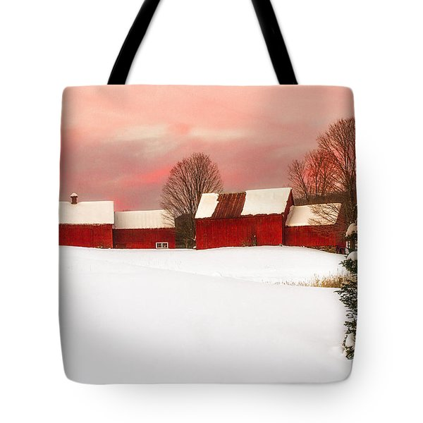 Red Barn Sunset Tote Bag