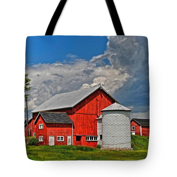 Red Barn White Silo Tote Bag by Trey Foerster