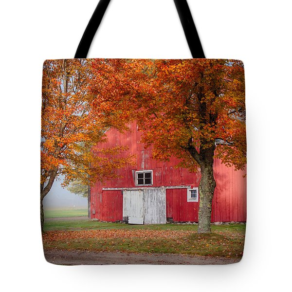 Tote Bag featuring the photograph Red Barn With White Barn Door by Jeff Folger