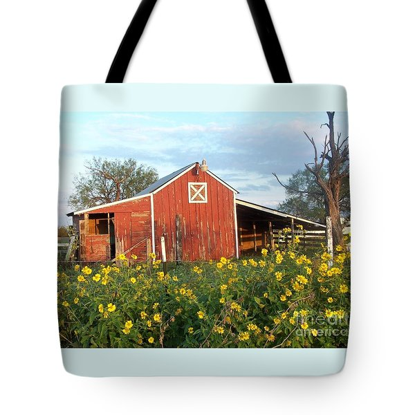 Red Barn With Wild Sunflowers Tote Bag