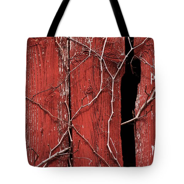 Tote Bag featuring the photograph Red Barn Wood With Dried Vines by Rebecca Sherman