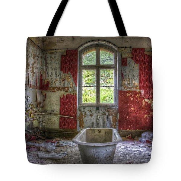 Red Bathroom Tote Bag